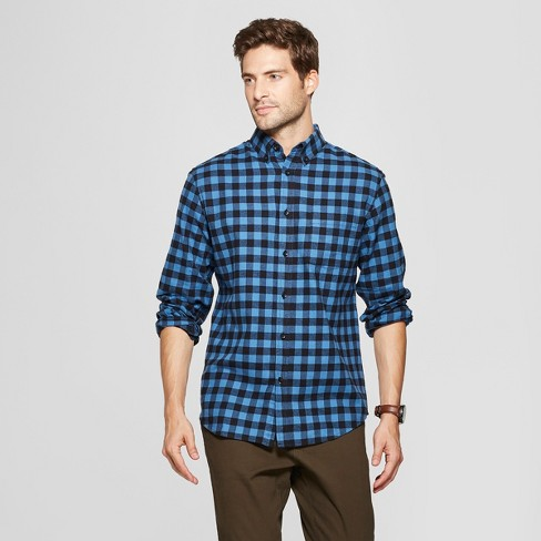 Men's Standard Fit 1-Pocket Flannel Long Sleeve Collared Button-Down Shirt - Goodfellow & Co™ - image 1 of 3