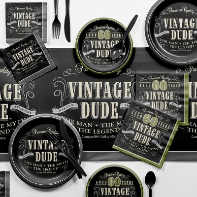 Vintage Dude 60th Birthday Party Supplies Kit