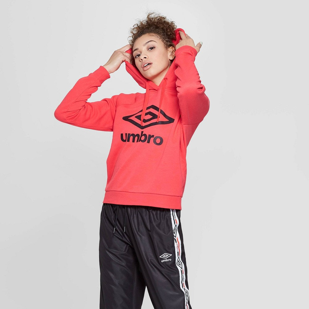 Umbro Women's Cropped Logo Hoodie Flash Red XS