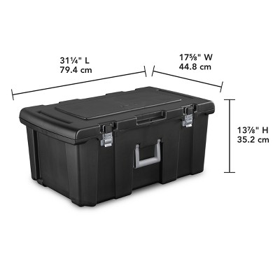 Sterilite Wheeled Foot Locker Black With Chrome Hinges And Latches : Target