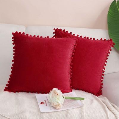 2 Pcs Velvet Pom Poms Decorative Pillow Cover - PiccoCasa