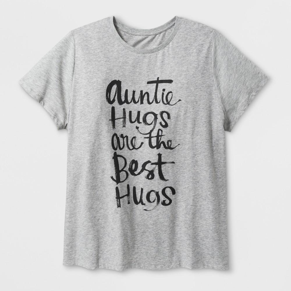 Women's Plus Size Short Sleeve 'Auntie Hugs' Graphic T-Shirt - Heather Gray 1X