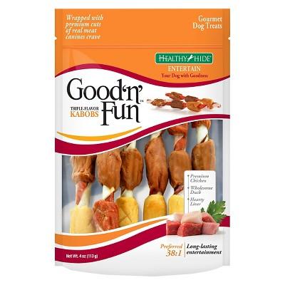 Good 'N' Fun Triple Flavor Kabobs Long Lasting Rawhide Dog Treats