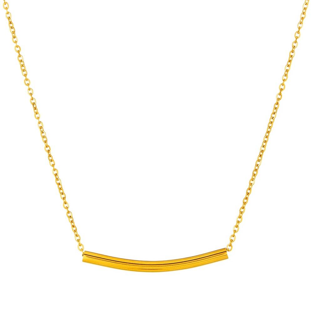 Elya Curbed Cylinder Bar Chain Necklace - Gold (18)