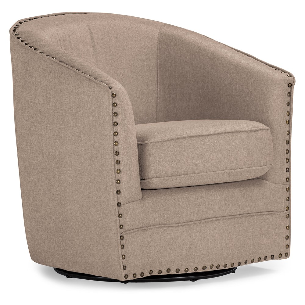 Porter Modern and Contemporary Classic Retro Fabric Upholstered Swivel Tub Chair - Buff Beige - Baxton Studio