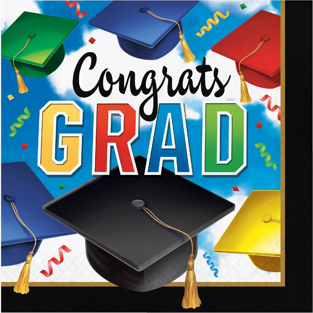 Image of 100ct Graduation Celebration Congrats Napkins, Multi-Colored