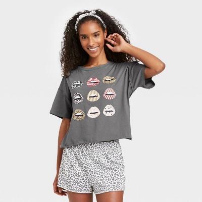 Women's Animal Print T-Shirt and Shorts Pajama Set with Bandana - Grayson Threads Gray