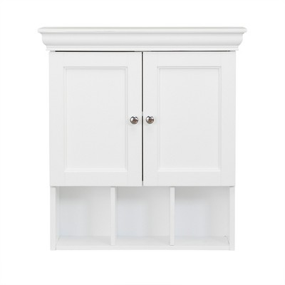 Bourbon Two Contemporary Doors and Open Shelf Decorative Wall Cabinet White - Elegant Home Fashions