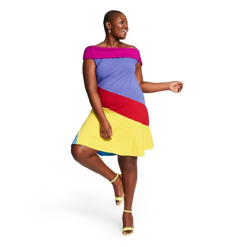 Women\'s Plus Size Colorblock Off the Shoulder Dress - Stephen Burrows for  Target 1X