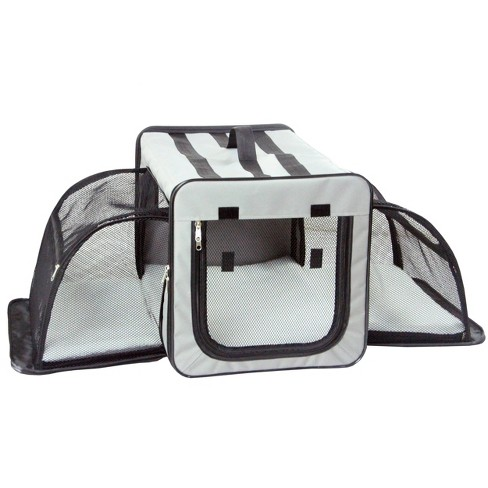 Pet Life Capacious Dual-Expandable Wire Folding Collapsible Travel Dog Crate - Gray - image 1 of 4