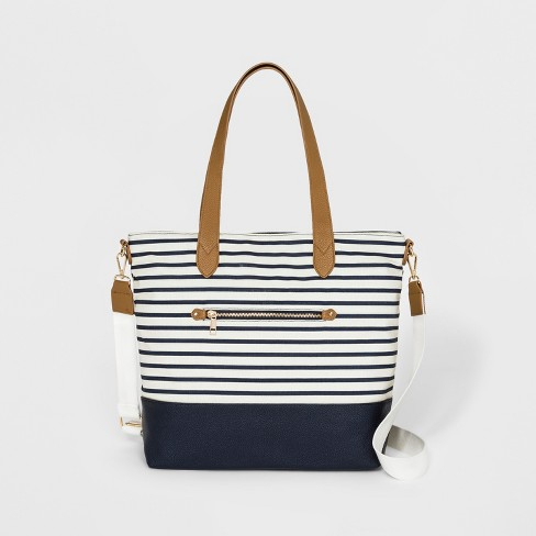 Striped Canvas Tote Handbag A New Day Navy