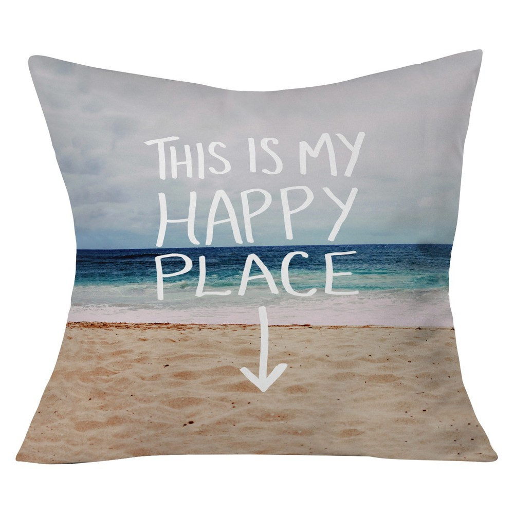 """Image of """"Blue Leah Flores Happy Place X Beach Throw Pillow (20""""""""x20"""""""") - Deny Designs"""""""