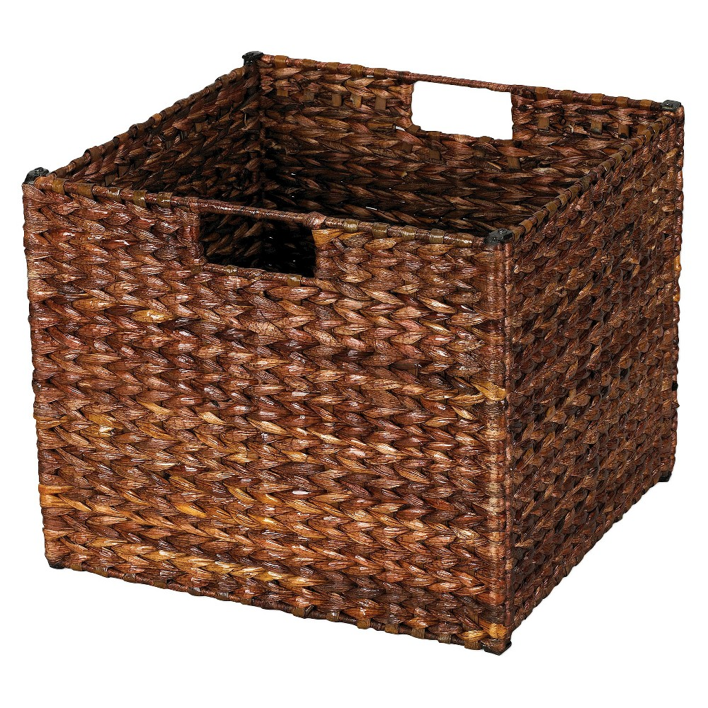 Natural Water Hyacinth Cube Storage Basket Stained Dark Brown - Household Essentials