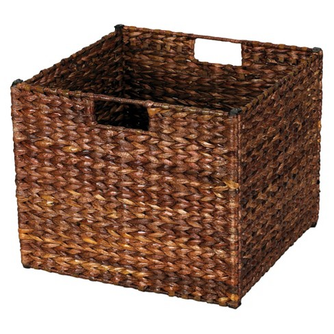 Natural Water Hyacinth Cube Storage Basket Stained Dark Brown - Household Essentials - image 1 of 2