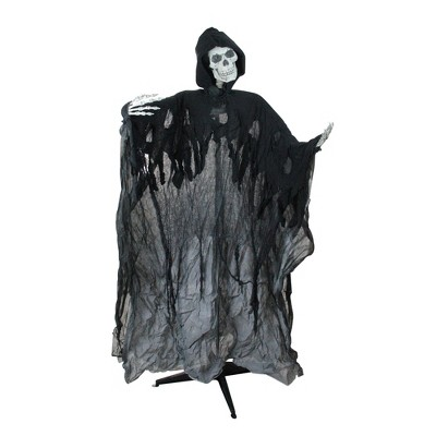 """Northlight 60"""" Prelit and Musical Skeleton Ghost Reaper Standing Halloween Decoration - Black"""