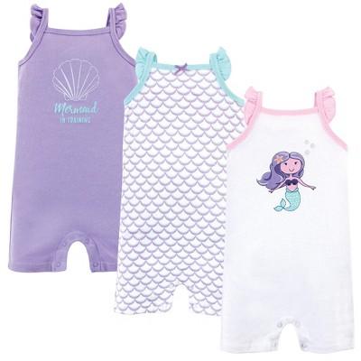 Hudson Baby Infant Girl Cotton Rompers 3pk, Mermaid