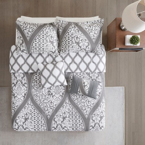 5pc Renia Reversible Print Duvet Cover Set Gray - image 1 of 14