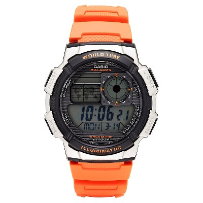 Casio Men's World Time Watch - Orange (AE1000W-4BVCF)