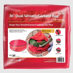 """36"""" Dual Wreath & Garland Storage Bag Red - Simple Living Innovations"""