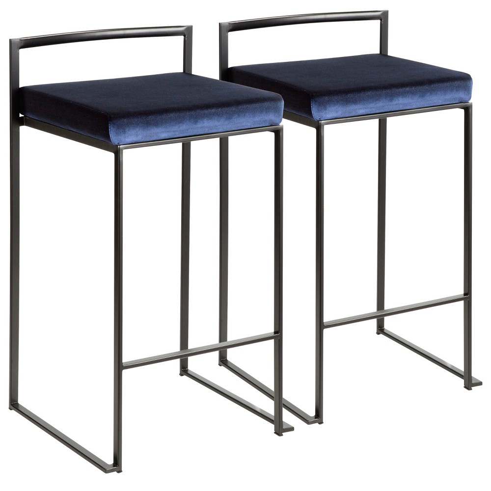 Set of 2 Counter And Bar Stools Black Blue Velvet - LumiSource