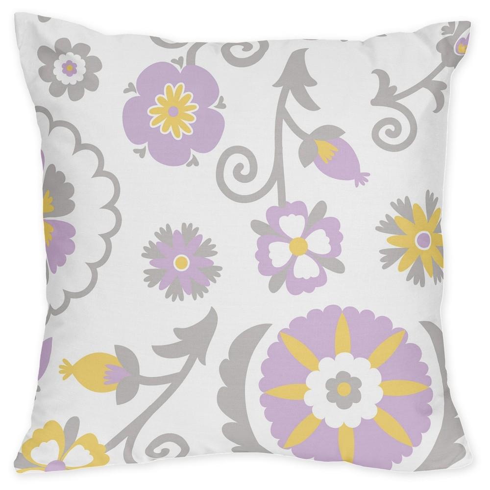 Lavender & Yellow Suzanna Throw Pillow - Sweet Jojo Designs