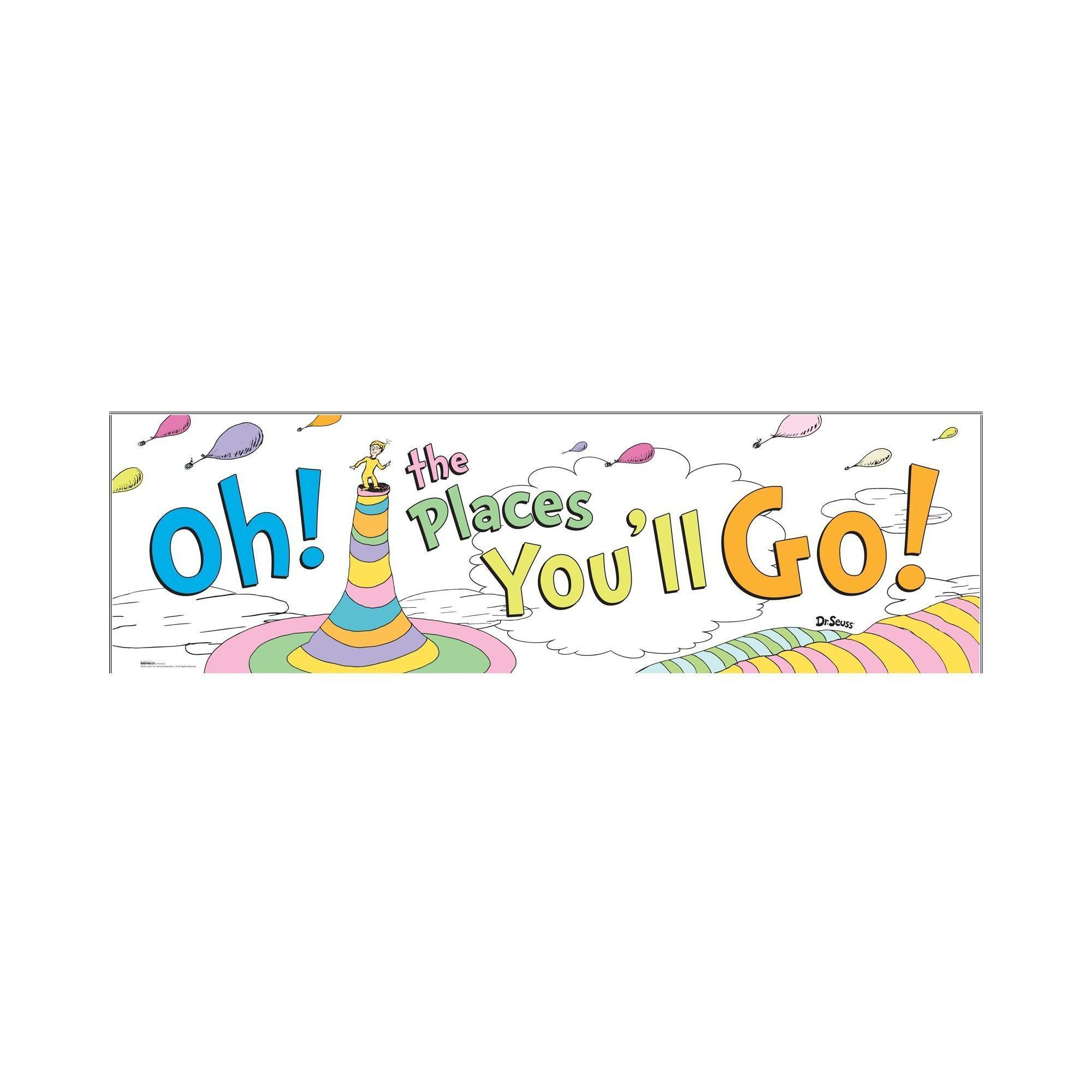 Dr. Seuss Oh The Places You'Ll Go Banner, Multi-Colored