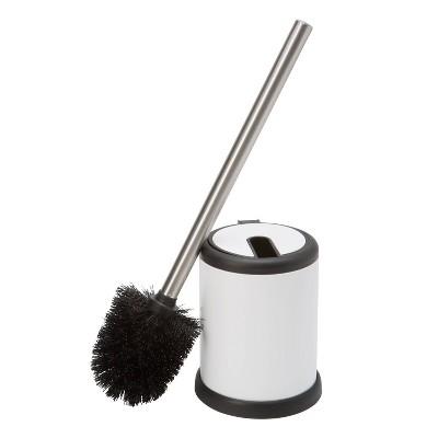 Self Closing Lid Toilet Brush and Holder White - Bath Bliss