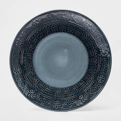 8.5  Ceramic Kingfield Debossed Salad Plate Blue - Threshold™