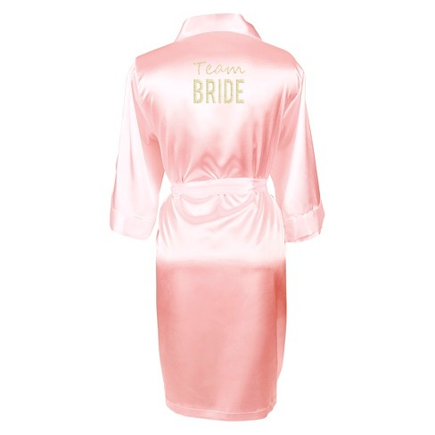 Solid Pink Satin Robe - image 1 of 4