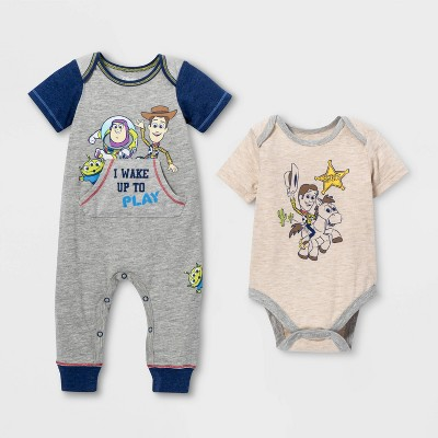Baby Boys' 2pk Toy Story Short Sleeve Romper and Bodysuit - Gray 3-6M