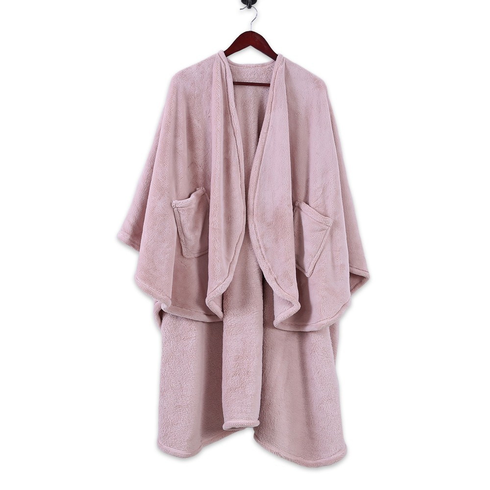 Image of Plush Wrap Blanket Blush Pink - Better Living