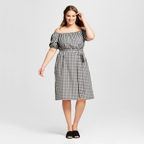 Women S Plus Size Embroidered Belted Bardot Dress Target