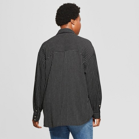 1df55e36 Women's Plus Size Striped Long Sleeve Popover Flannel Button-Down Shirt - Universal  Thread™ Black