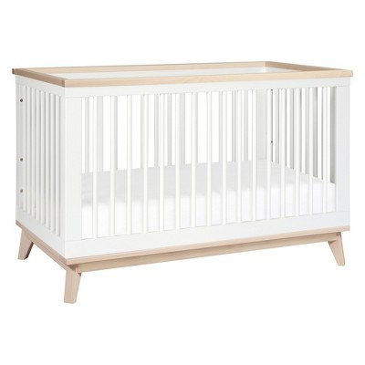 Babyletto Scoot 3-in-1 Convertible Crib with Toddler Rail - White/Washed Natural