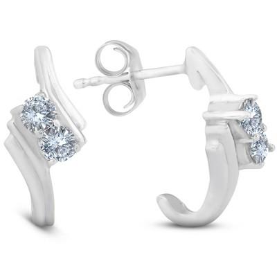 Pompeii3 1/3CT Forever Us 2 Stone Diamond Earrings 14K White Gold