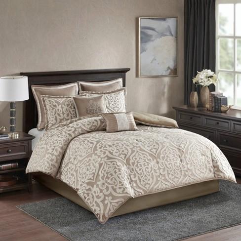 Queen 8pc Jacquard Comforter Set Tan, Target Queen Bedspread Sets