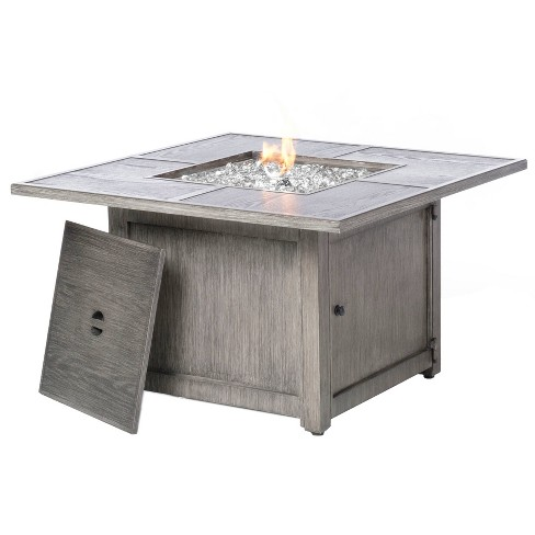 Cheyenne Cast Aluminum Square Gas Fire Pit/Chat Table w/Glacier Ice Firebeads - Alfresco Home LLC - image 1 of 2