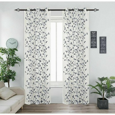 Kate Aurora 2 Pack Floral Leaf Embroidered Grommet Sheer Curtains