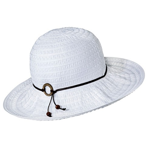 Women's Floppy Hat with Brown Tie White - Merona™ - image 1 of 1