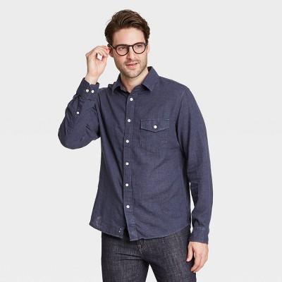 Men's Regular Fit Double Weave Long Sleeve Button-Down Shirt - Goodfellow & Co™