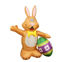 Northlight Easter 4' Inflatable Prelit Bunny with Egg Outdoor Decoration - Brown/Yellow