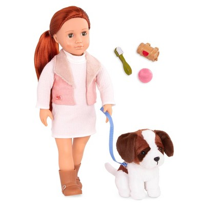 "Our Generation 18"" Doll & Pet Set - Delphia with Plush Saint Bernard Dog"