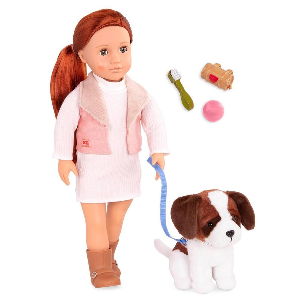 Our Generation 18 34 Doll 38 Pet Set Delphia With Plush Saint Bernard Dog