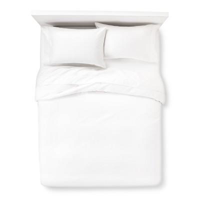 White Sateen Long Staple Cotton Letto Basics Duvet Cover (King)- Kassatex®