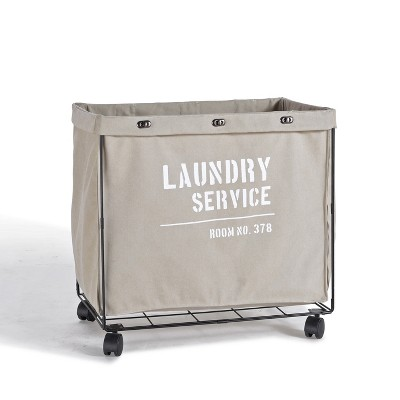 Danya B. Army Canvas Laundry Hamper on Wheels Mohave Earth