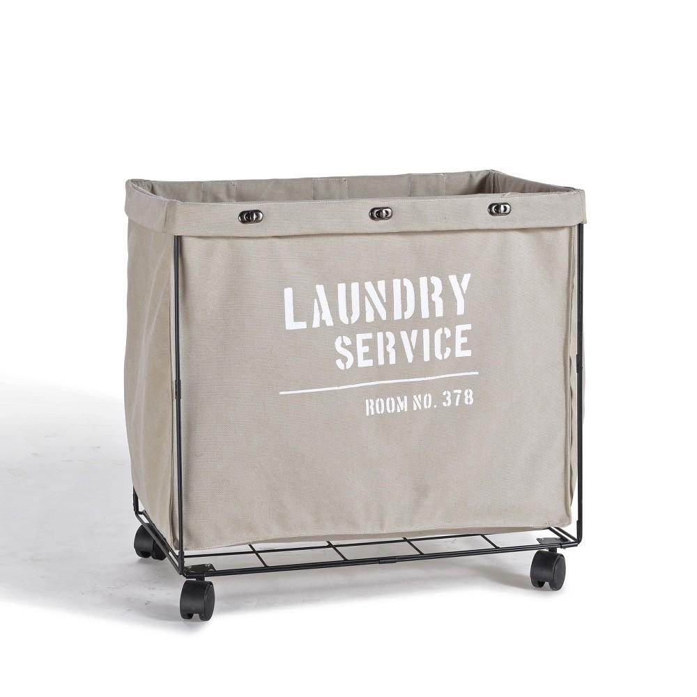 Danya B Army Canvas Laundry Hamper On Wheels Mohave Earth