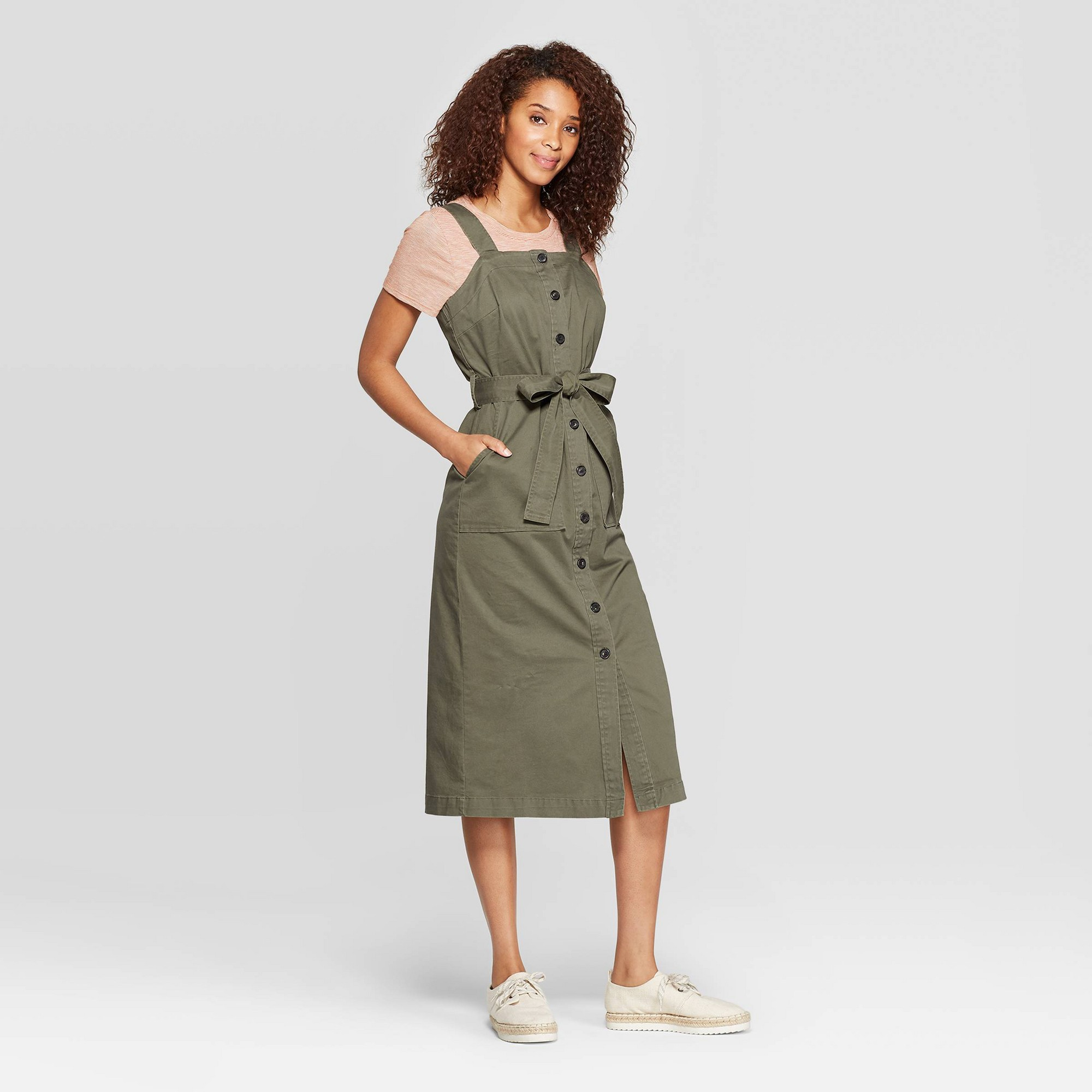 Women's Sleeveless Square Neck Midi Button Front Belted Dress - Universal Thread Olive (Green) M