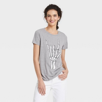 Women's Halloween Skeleton Rocker Short Sleeve Graphic T-Shirt - Gray