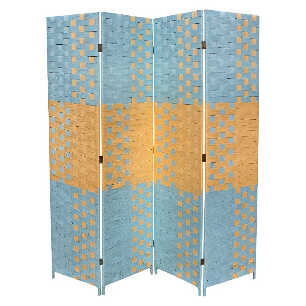 "Image of ""4 Panel Paper Straw Weave Screen on 2"""" Legs - Ore International, Blue"""