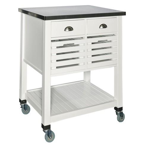 2 Piece Robbin Wood Kitchen Cart Wood/White - Linon Home Decor